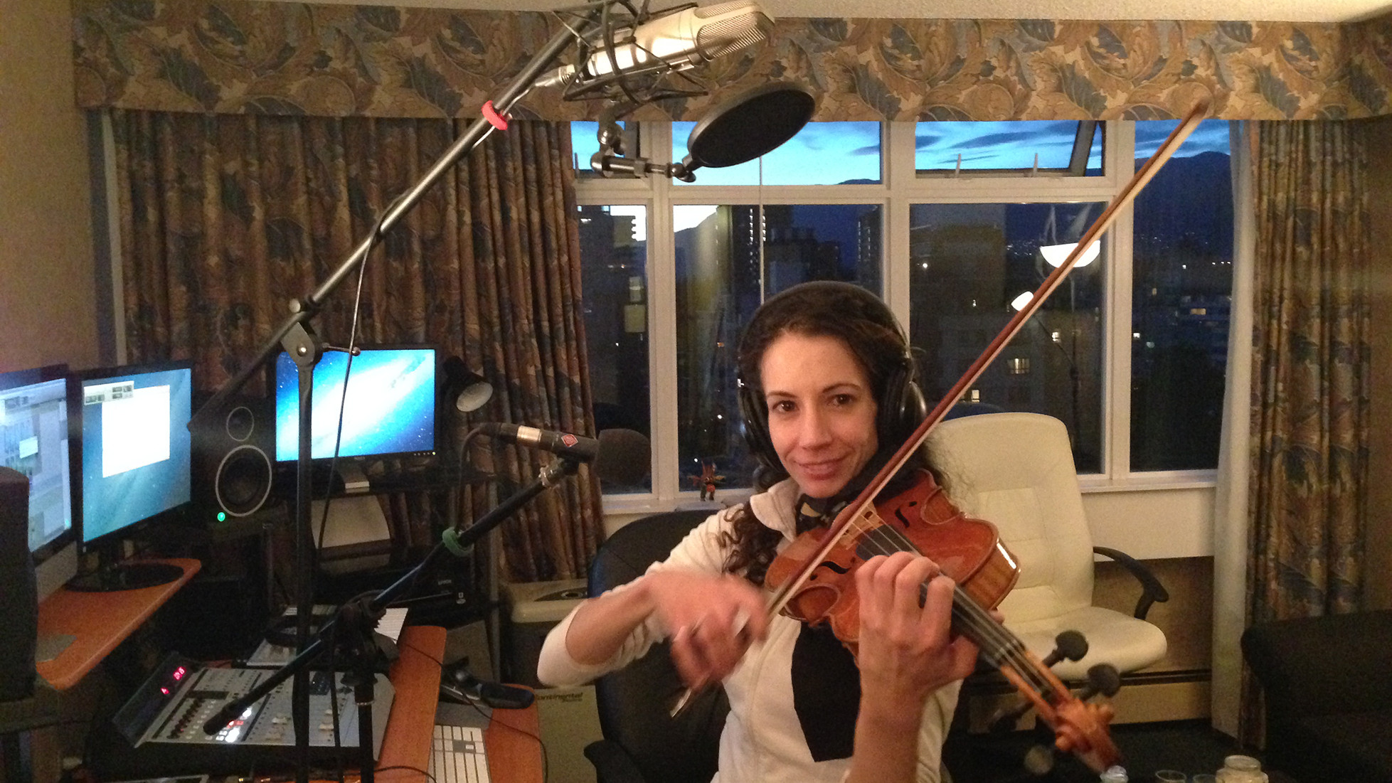 Violin recording session